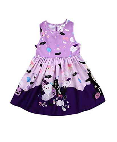 Babykleidung,Sannysis Kleinkind Baby Mädchen Geister Print Kleider Halloween Kostüm Outfits (100, Lila)