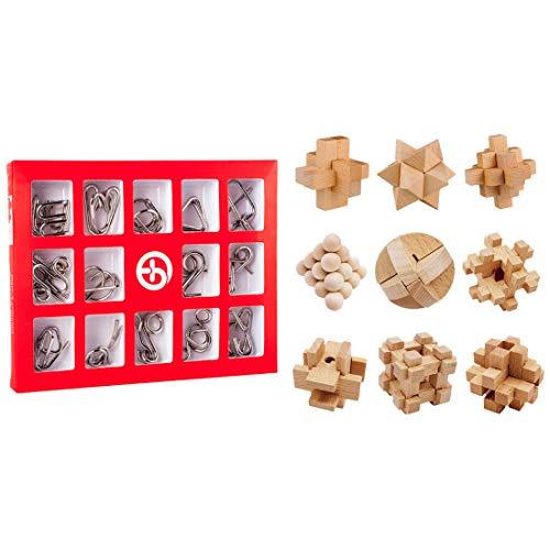 TONGJI Knobelspiele 24 Stück Metall Knobelei Set Holzspielzeug Puzzle IQ Test 3D Brainteaser Puzzle Metall Knobelspiele Für Kinder Teenager & Erwachsene