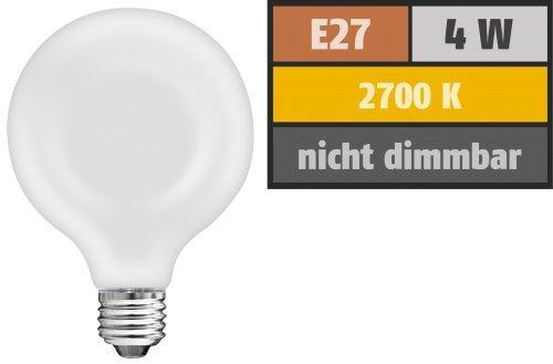 Preisvergleich Produktbild LED-Filament Globelampe, E27, 4W, 420 lm, warmweiß, matt
