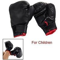 TOOGOO(R) Guantes de Boxeo Negro Esponja Acolchada Cuero de Imitacion para Ninos