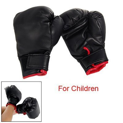 TOOGOO(R) Schwarze Kunstleder Schwammauflage Paar Boxhandschuhe fuer Kinder