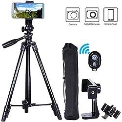 MACTREM Trepied Smartphone, Trepied iPhone 118cm Aluminium Léger, Trepied Appareil Photo pour iPhone/GoPro/Camera avec Télécommande Bluetooth & Porte-téléphone (Noir)