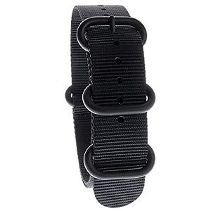 Yves Camani Unisson 20 mm Uhren-Armband Nylon Nato-Band Schwarz Neu AB_197