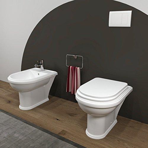 Sanitari bagno Bidet e Vaso WC tradizionale a terra con sedile coprivaso. Omega