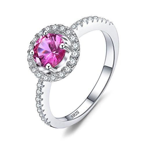 Jewelrypalace rotondo 1.36ct rosa alessandrite zaffiro bella anello di promessa argento sterling 925