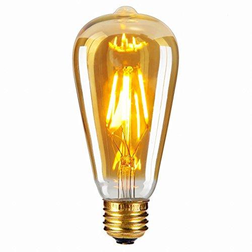 Edison Vintage Glühbirne, Edison LED Lampe Warmweiß E27 4W Retro LED Glühbirne Vintage Antike Glühbirne für Nostalgie und Retro Beleuchtung im Haus Café Bar 1er Pack von BrilliantJo (Vintage Glühbirne Antik)
