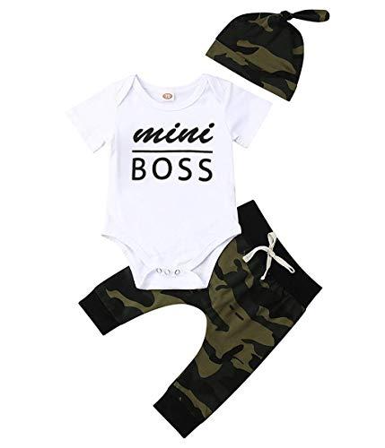 BeautyTop ❤v❤ 3-24 Monat Neugeborenes Baby Sommer Camouflage Outfits Baby Jungen Buchstabe Drucken Strampler Body mit Hosen und Hut Set 3Stück Toddler Kinder Schöne Schlichtes Kleidungsset