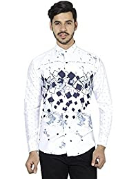 STRAK Mens' Printed Full Sleeves Band Collar Buttoned Cotton Casual White Color Shirt