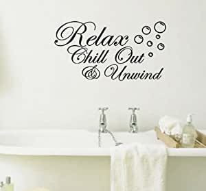 Relax Chill Out and Unwind with Bubbles Bathroom Wall Art Sticker Picture Motto (Black., 51 cms wide x 30 cms high)