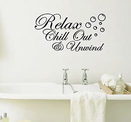 Great Relax Chill Out And Unwind With Bubbles Bathroom Wall Art Sticker Picture  Motto (Black., 51 Cms Wide X 30 Cms High): Amazon.co.uk: DIY U0026 Tools Images