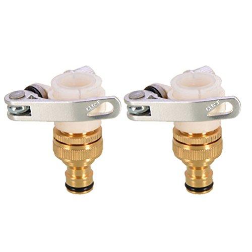Ounona 2 pcs 3/4 ou 1/2 universel robinet à visser jardinage Adaptateurs de tuyau d'eau rapide Raccord de tuyau raccords Adaptateurs de robinet laiton pour machine à laver de cuisine de salle de bain Lavabo Robinet (style J)