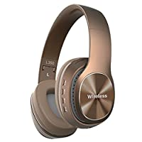 Wireless HeaAdset, Stereo Foldable Sports Headphone OverEar Blue-tooth 4.1 ,Noise Cancelling Soft Memory-Protein Earmuffs Built-in Mic For PC/Cell Phones/TV Headset (Brown)