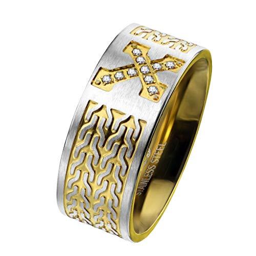 Paula & Fritz Herrenring Golden Silberband Keltisches Kreuz Zirkonia Freundschafts-Ring Damen-Ring Verlobungs-Ring Partnerring Edelstahl Chirurgenstahl 316L R-M6427G_110