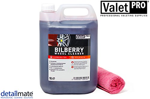 detailmate Valet Pro Bilberry Wheel Cleaner 5 Liter Kanister - Felgenreiniger Konzentrat Mikrofasertuch 40x40cm