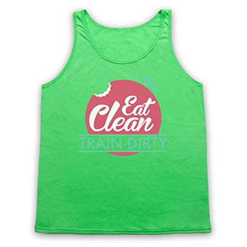Eat Clean Train Dirty Tank-Top Weste Neon Grun