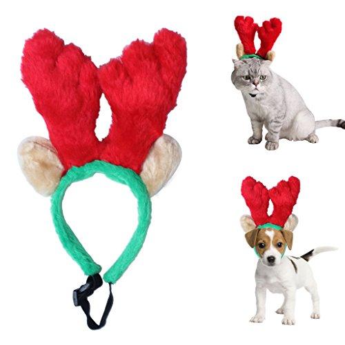 Katze Ohren Braune (Nettes Haustier-Weihnachtsren-Geweihe-Stirnband mit langen Ohren-Party-Stütze-Verzierungen für kleine Hundekatze)