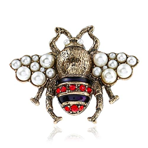 Daawqee Damen-Ring, Summer Jewelry Vintage Bee Simulated Pearl Bee Ring for Women Antique Red White Insect Adjustable Finger Rings Female Punk Party Red Bee (Vintage Wedding Ring White Gold)