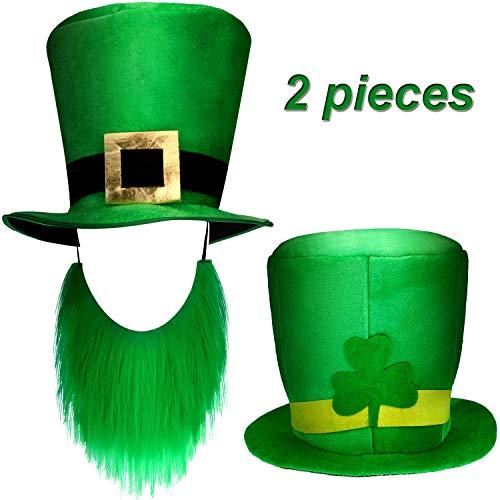 Zhanmai 2 Stück St. Patrick's Day Shamrock Grün Hüte Kobold Hut Kostüm Zubehör für Party Lieferungen (Stil Satz 2)