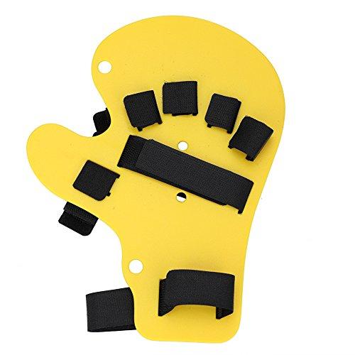 2 Farben Finger Orthesen Extended Type Griffbrett Schlaganfall Handschiene Trainingsgerät(Gelb)