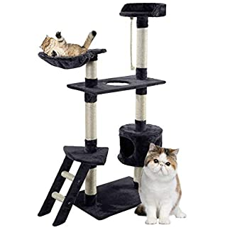 blackpoolal cat kitten scratching post tree with rope and hammock scratches bed tree climbing toy activity center pets play tower house home decorative furniture (150cm) Blackpoolal Cat Kitten Scratching Post Tree with Rope and Hammock Scratches Bed Tree Climbing Toy Activity Center Pets Play Tower House Home Decorative Furniture (150CM) 41E11vej0jL