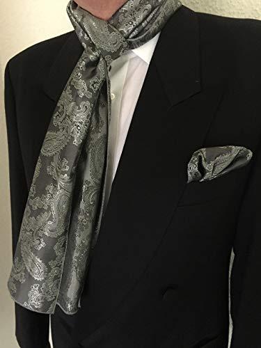 Exklusives Herren Set bestehend aus Schal und Einstecktuch in Grau Glänzent