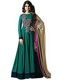 Ethnic Wings Women Georgette Anarkali Semi-Stitched Salwar Suit (EW&ER_ER10652_Rama Blue_Free Size)