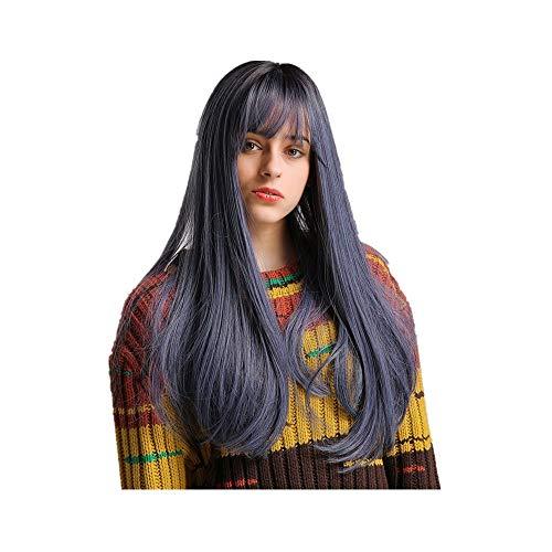 Rifuli® Mehrfarbige Perücke Mode Frauen brasilianische kurze reizvolle Bobo Perücke vordere gewellte schwarze synthetische Perücken + Kappe Styling Lange Haare ()