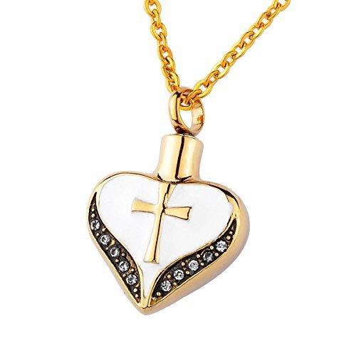 HooAMI - Colgante con diseño de corazón con cruz, de acero inoxidable y circonitas cúbicas