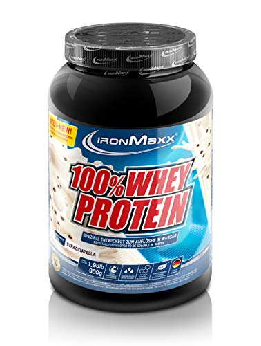 IronMaxx 100{bd864e30ceb77c0cff9af65b348f6115f269cf6c7a4d4b2b4a323aa47264507c} Whey Protein - Dose - Stracciatella, 1er Pack(1 x 900 grams)