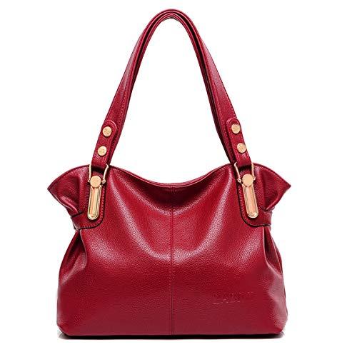 KrisAnna Damen Weiches Leder Schulter Hobo Taschen Rot EINWEG -