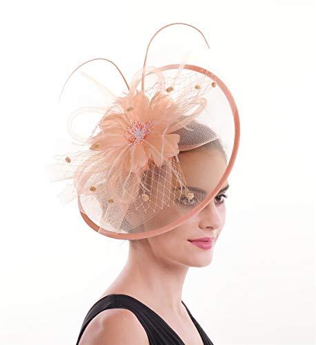 Lucky Leaf Damen Mädchen Bibis & Haar Clip Feder Hochzeit Cocktail Tea Party Mütze Gr. 56, 8-rose Clair
