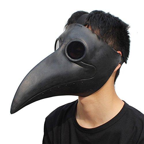 arzt Vogel Masken Lange Nase Schnabel Cosplay Steampunk Halloween Kostüm Requisiten (Schwarz) (Erstaunliche Cosplay Kostüme)