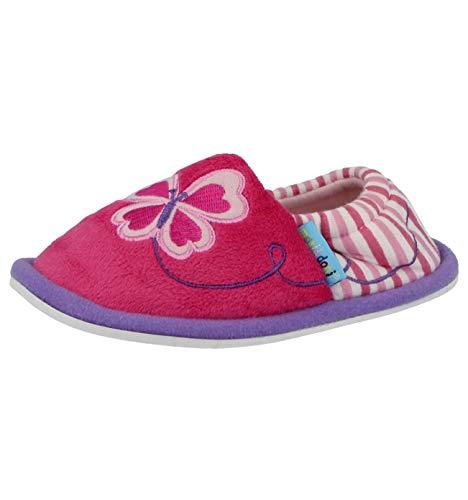 Girls 903701 Kids Infant Pink Fleece Flower Butterfly Slip On Warm Slippers Size 4-12.5