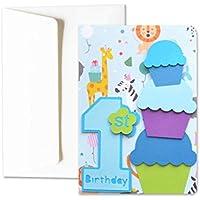 Il mio Primo compleanno - bambino - biglietto d'auguri (formato 15 x 10,5 cm) - vuoto all'interno, ideale per il tuo messaggio personale - realizzato interamente a mano.