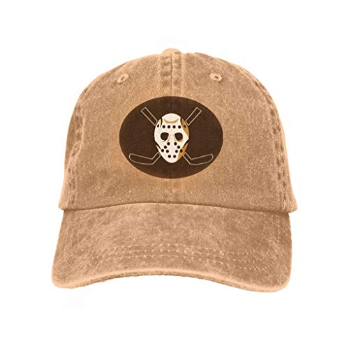 Xunulyn Vintage Jeans Baseball Cap Horror Hockey mask Halloween Horror Hockey mask Halloween Re Sand Color