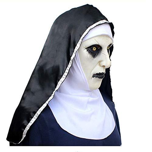 SPFAZJ Halloween Ghost Festival Horrorfilm Spiritualismus 2 Nonnen Maske Überraschung Bundle Frauengesicht Perücke (Light Up Perücke)