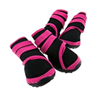 Two Pairs Waterproof Pet Dog Shoes Protective Rain Boots Pink M