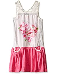 Kensie Big Girls' Knit Lace and Jersey Sublimation Print Dress