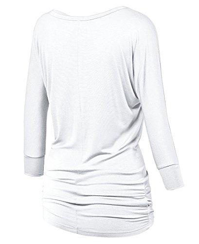 lymanchi Damen Rundhals 3/4 Ärmel Falten Shirt Crewneck Fledermaus Batwing  Tunika Top Weiß