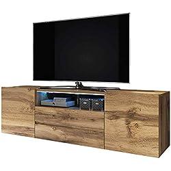 Selsey Bros - Meuble TV/Banc TV (137 cm, Effet chêne wotan, avec LED)
