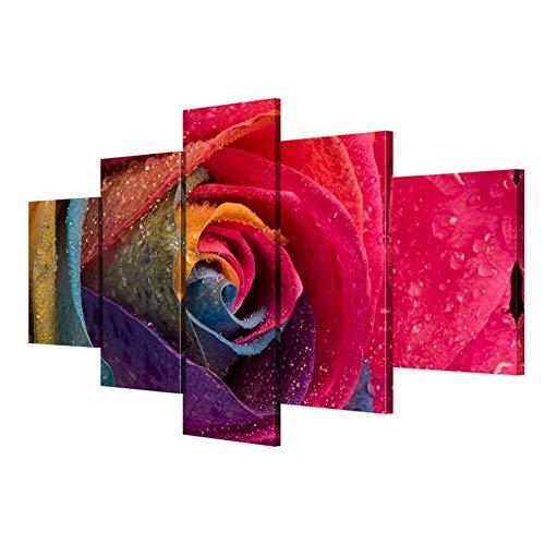 WENYAO Wallart Modern Giclee Canvas Prints Kunstwerk Farbige Rosen Wohnzimmer Wanddekoration (Multi-Size Optional), Mit Grenzen, SizeB -
