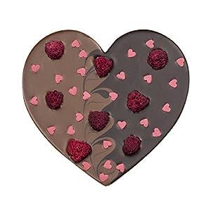 Corazón de chocolate con frambuesas