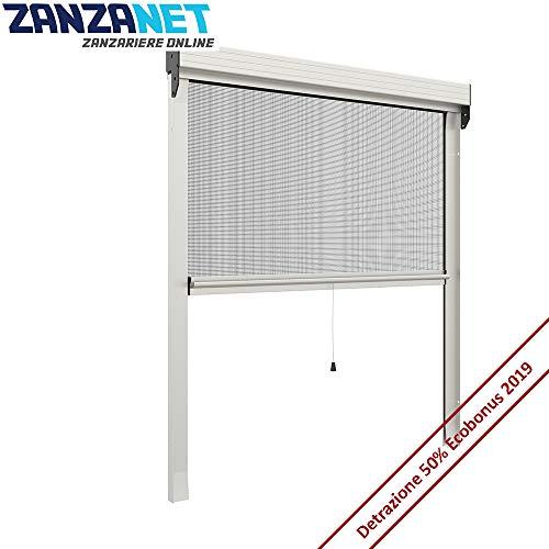 Zanzariera su misura per finestre, modello verticale a molla da 50 mm, personalizzabile con 6 tipi di rete e 20 colori di alluminio, made in italy