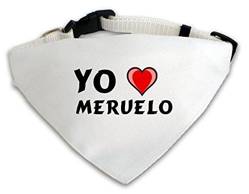 Pañuelo blanco personalizado para perros con Amo Meruelo (ciudad / asentamiento)