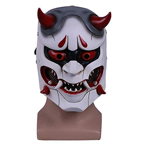 Hope Overwatch Genji Maske Böse Cosplay Vollgesichtsmasken für Kostüm Masked Ball Halloween Passt 58-63 cm,White-OneSize (Promi-halloween-kostüme Für Erwachsene)