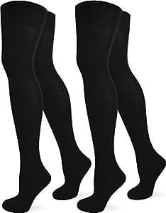 2 Paar Damen Overknees extra lang mit Komfortbund in verschiedenen Farben Farbe Schwarz