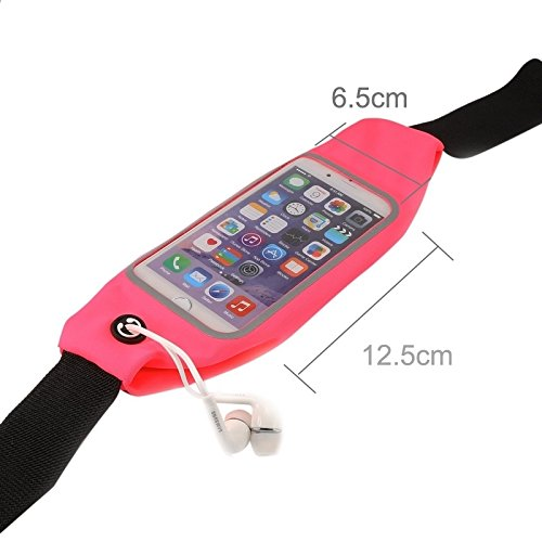 Wkae Case Cover Wasserdichte Sport-Taillen-Beutel-Beutel mit Kopfhörer-Loch für iPhone 6 &6s ( Color : Red ) Pink