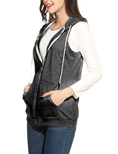 Parabler Damen Weste Ärmellos Jacke mit Kapuze Taschen Reverskragen Freizeit Sport Hoodie Grau Grau EU 42(Herstellergröße:XL)