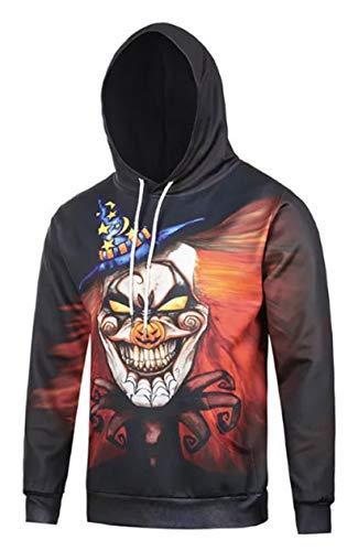 PIZOFF Unisex Halloween Sweatshirts Kapuzenpullover - Hip Hop mit 3D Digital Print Geschenke Kürbis Cosplay Clown ()