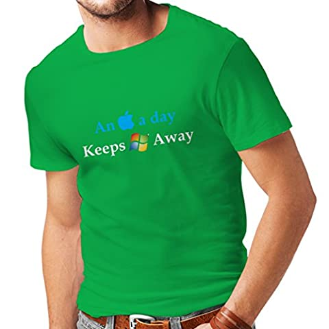 N4246 Männer T-Shirt An Aplle a day ... (Large Green Multi Color)